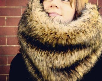 Oversized Faux Fox Fur Cowl - Infinity Scarf - Snood