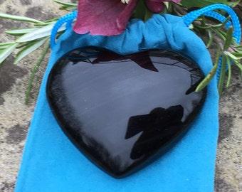 Black Obsidian Crystal Heart - 6.5cms