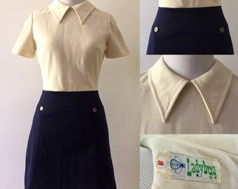 Xs/S 1960s Ladybug Mod Colorblock Scooter Dress