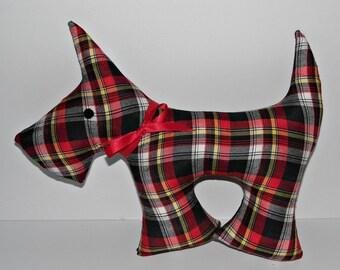 Black Grey Red Tartan Scottie Dog