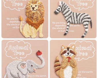 Mini Embroidered Iron on Applique Patch - Lion / Zebra / Elephant / Raccoon / Dolphin