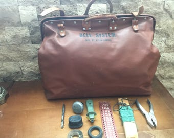 Vintage 1950's Bell System Repairman's Tool Bag MFG Klein-Buhrke and Bell System Memoriabilia