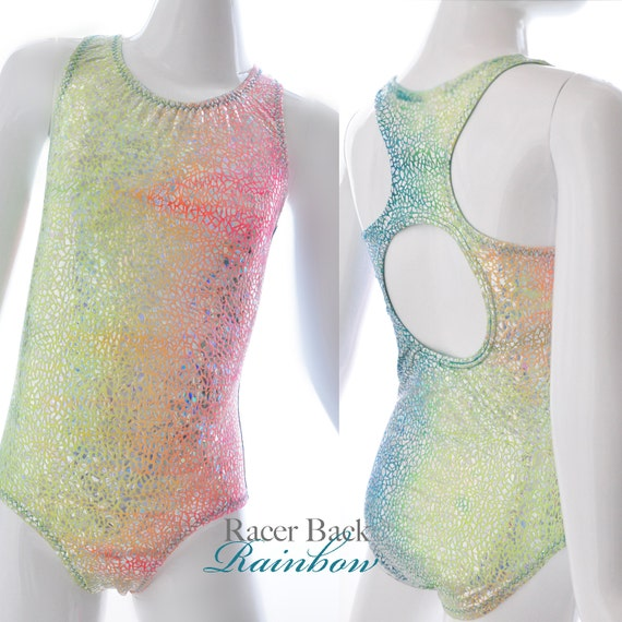 Girls leotard. Metallic Rainbow Racer Back, With Open Back. Gymnastics and dancewear.