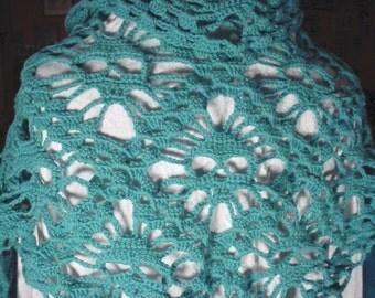 Skull Scarf Triangle Scarf Skull Shawl Turquoise Shawl Turquoise Scarf
