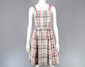 1980s Ralph Lauren Plaid sun dress cotton 50s inspired button front fit and flare festival 6