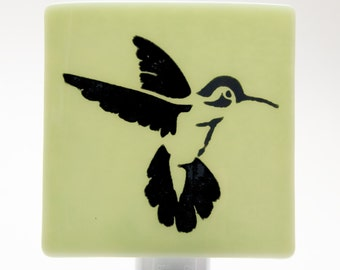 Hummingbird Night Light Screen Printed on Light Green Glass