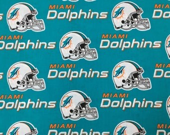"""MIAMI DOLPHINS nfl 60"""" Cotton Fabric By The Yard Fabric Traditions"""