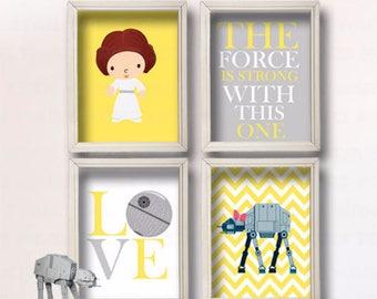 Baby Girl Star Wars Nursery Art- Girl Room Decor R2-D2 and C3-PO - Star Wars Decor - Baby Shower Gift - Nursery Girl   GR-069