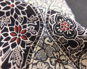 "13.5""w. x 29.7""l. Vintage kimono silk fabric abstract 2565N"
