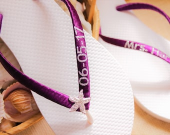 Purple Mrs Flip Flops, Bride Bridal Wedding Flip Flops, White Sandals, Bridal shoes, personalized bridal slippers, customized wedding flats
