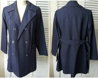 OW4010 Vintage Women's Navy Blue Belted Trench Coat sz XL