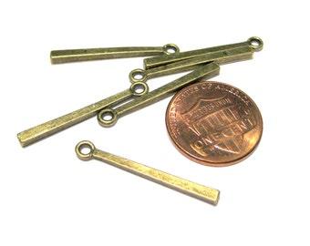 Antique Bronze Rectangle Bar Stick Charms Pendants