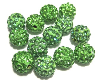 10pcs Green Polymer Clay Rhinestone Beads Pave Disco Ball Beads - Grade A 10mm
