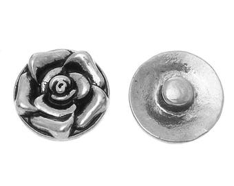 "1pc 12mm Antique Silver Rose Flower Carved Snap Button Charms Knob Size: 4.5mm( 1/8"")"