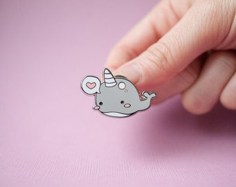 Narwhal Whale Pin - Silver Enamel Pin - Cute Narwhal with Heart Bubble - Narwhal - Animal Pin - Enamel Pin