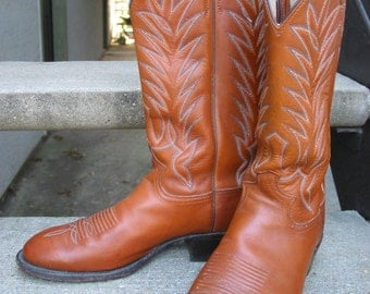 Justin Used Tan Leather Cowboy Boots 9 D