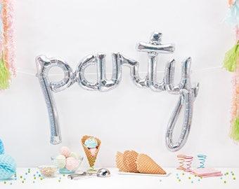 Silver Party Script Balloon, Silver Holographic Party Balloon, Silver Party Balloon, Dessert Table, Wedding Balloon, Letter Balloon Banner