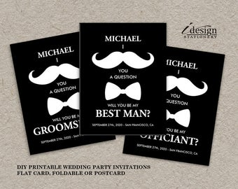 Mustache Groomsmen Cards | Printable I Mustache You A Question Groomsman, Best Man, Ring Bearer, Usher, Wedding Party Proposal Invitations