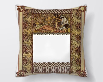 Art Nouveau Pattern - Cushion Fabric Panel Or Case or with Filling