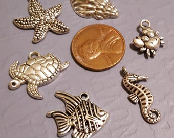 Sea life Charm Assortment 24 pieces - starfish, shell, crab, seahorse, angel fish and sea turtle- Stampin Up paper embellishment