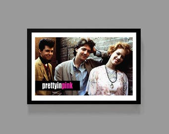 Pretty in Pink Movie Poster Print - Duckie, Molly Ringwald, Jon Cryer, Andrew McCarthy - Cult Classic Teen Drama Comedy Film 80's