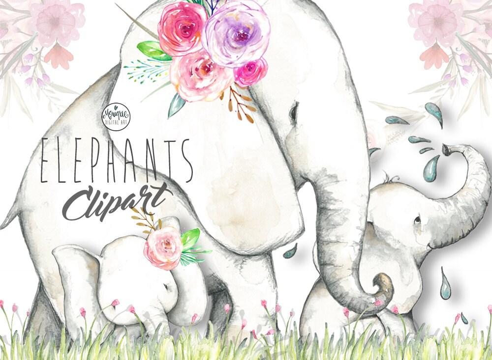 Elephant clipart, elephant watercolor, jungle animals ...