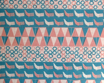 Fabric - Sevenberry - pink bird print - cotton flax.