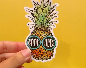 Good Vibes Pineapple Sticker| surfer, boho, cute, teen, gift, accessory | Watercolor, Hipster, Glasses, Design, Custom, Typography