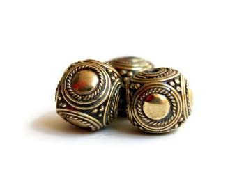 One Chunky Tibetan Cube Bead - Gold Toned Brass Beads - Cube Beads - Handmade Tibetan - Jewelry Supplies - Mala Beads - Yoga Jewelry - Boho
