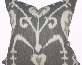 Ikat Pillow Cover - Magnolia Home Fashions Java Ikat Pewter - Gray Pillow Covers - Made to Order in Over 20 Sizes with Invisible Zipper