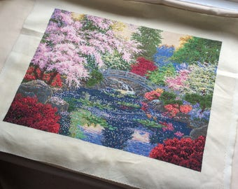 Vintage tapestry picture, needlepoint tapestry, vintage tapestry to frame or use as cushion etc.