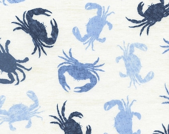Crabs Fabric Fat Quarter, Third Yard, Half Yard, or By-The-Yard; C3501; Novelty Fabric; Timeless Treasures; Blue Crab; Lake House Rules