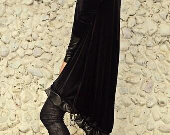Black Velvet Sweatshirt,  Funky Hoodie, Black Loose Hooded Sweatshirt, Halloween Velvet Hoodie TDK212 by TEYXO
