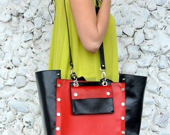 Black and Red Genuine Leather Bag, Large Natural Leather Handbag, Large Black and Red Tote TLB18, The FRENCH KISS