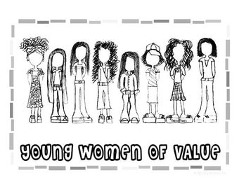 "Young Women Values Coloring Sheet - YW Value Girls 8.5""x11"""