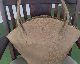 Vintage Katherine Kristi Large brown distressed handbag tote shopper purse