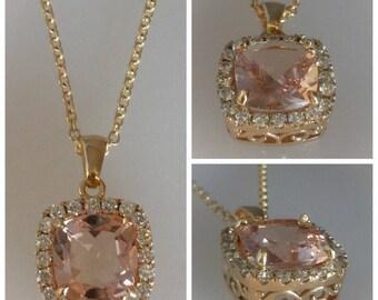 Diamond and Morganite Pendant 14k Yellow Gold Cushion Cut Pink Morganite 4ct & Genuine Diamond .56ct Vintage Design Pendant