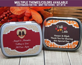 Fall in Love Wedding Favors - Fall in Love Bridal Shower - Fall Bridal Shower Ideas - October Wedding - Mint Tins - Favor Tins - Set of 10