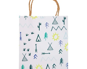 Let's Explore Party Bags, Meri Meri Gift Bags, Camp Party Bags, Little Explorer Favor Bag, Tribal Print Bag, Adventure Party, Camping Party