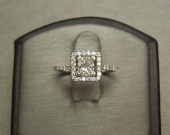Vintage Estate C1980 14K White Gold 1.18TCW G VS2 Square Princess cut Diamond Solitaire Halo Engagement Ring Sz 5