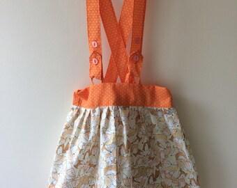 Fox braces skirt, fox print, fox gift, fox clothes, fox baby, skirt with braces, skirt with straps, baby skirt, toddler skirt, girls skirt