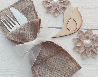 Burlap Silverware Holders - Burlap Cutlery Holders - Burlap Cutlery Pockets - Burlap Wedding Decor - Burlap Cutlery sleeves - Choose Qty