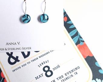Wedding Invitation Earrings / 1st Anniversary Her / First Anniversary Gift / Paper Anniversary Gift for Her / Anniversary Gift for Wife