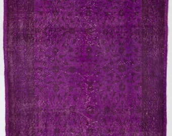 "Overdyed Rug 4' x 6'6"" (122 x 200 cm) Turkish Handmade Rug, Purple Overdyed Rug"