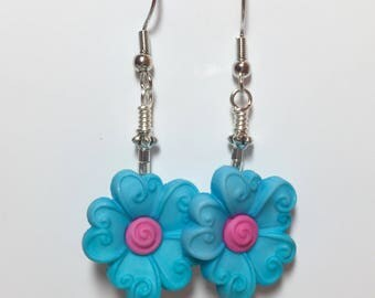 Flower Button Dangle Earrings