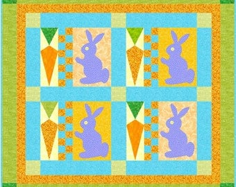 Cottontails Bunny and Carrot Quilt Pattern - Easter Kids Quilt - INSTANT DOWNLOAD