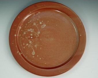 Stoneware Dinner Plate, Hand Thrown Plate in Shino, Orange Pottery Dinnerware Plate, Studio Pottery Dinnerware, Modern Dinnerware, Minimal