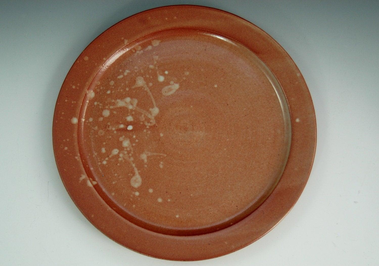 Stoneware Dinner Plate Hand Thrown Plate In Shino Orange