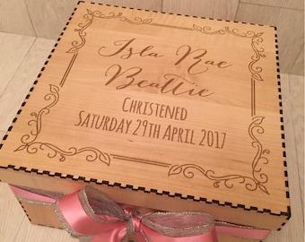 Premium christening engraved keepsake box in wood veneer maple or cedar with name and Swarovski crystal detail