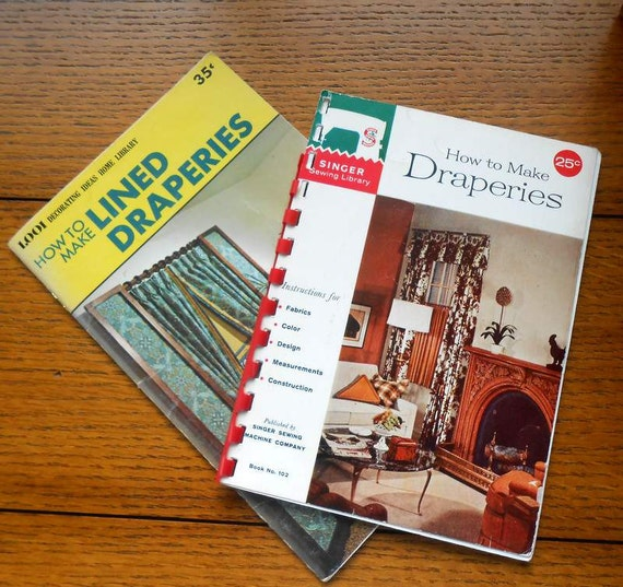 Two DIY Drapery Booklets 1960 Singer and Mid Century How To Make Lined Draperies